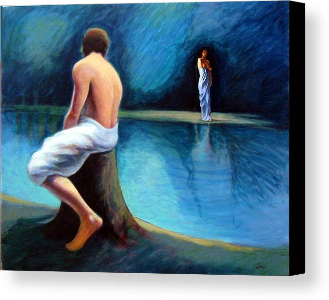 Nightscape Canvas Print featuring the painting The Couple by James LeGros