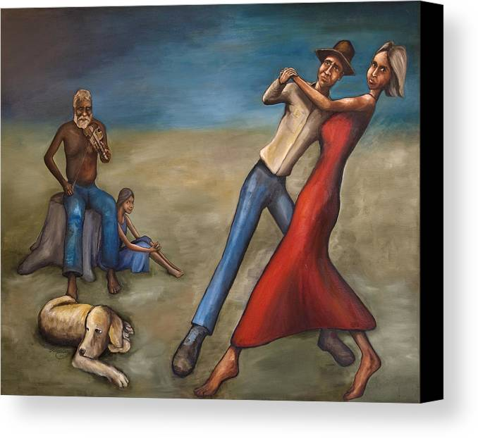 Dancers Canvas Print featuring the painting The Dancers by Robert Lacy
