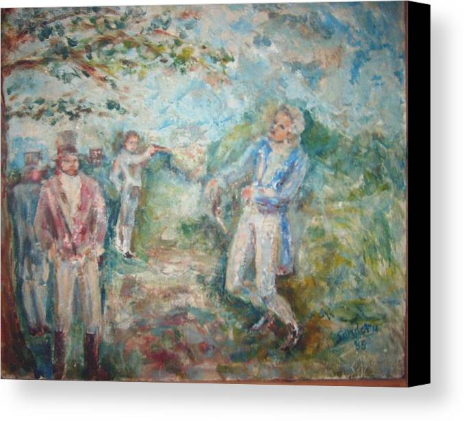 People Landscape Historical Duel Canvas Print featuring the painting The Duel by Joseph Sandora Jr