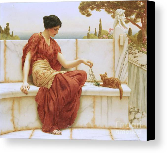 The Favorite Canvas Print featuring the painting The Favorite by John William Godward