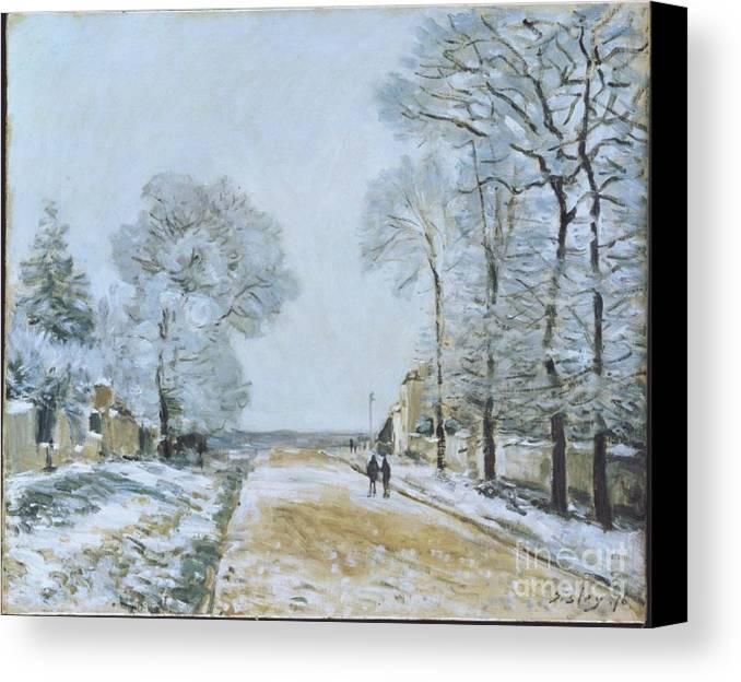 The Road Canvas Print featuring the painting The Road, Snow Effect by MotionAge Designs