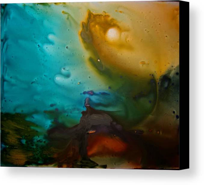 Acrylic Abstract Yupo Turqoise Yellow Red Black Purple Water Storm Canvas Print featuring the painting The Storm by Linda Powell