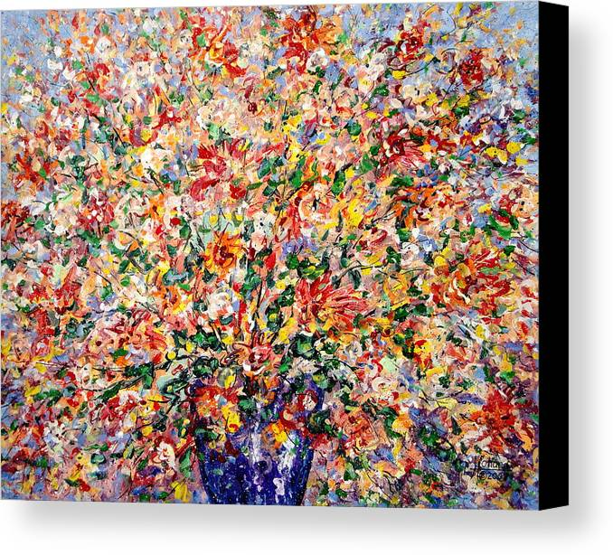 Flowers Canvas Print featuring the painting The Sunlight Flowers by Leonard Holland