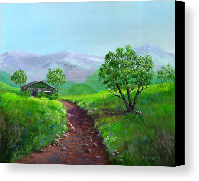 Landscape Canvas Print featuring the painting The Trappers Cabin by SueEllen Cowan