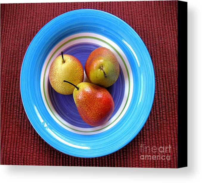 Nature Canvas Print featuring the photograph Three Pears In A Bowl by Lucyna A M Green