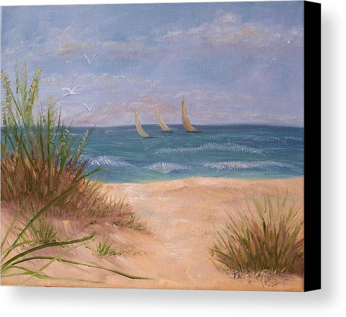 Beach Canvas Print featuring the painting Three Sails by Barbara Harper