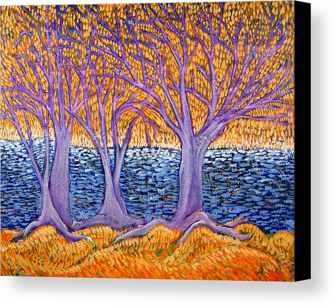 Landscape Canvas Print featuring the painting Three Trees by Rollin Kocsis