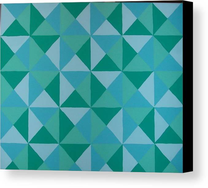 Triangles Canvas Print featuring the painting Trying Any Angle by Gay Dallek