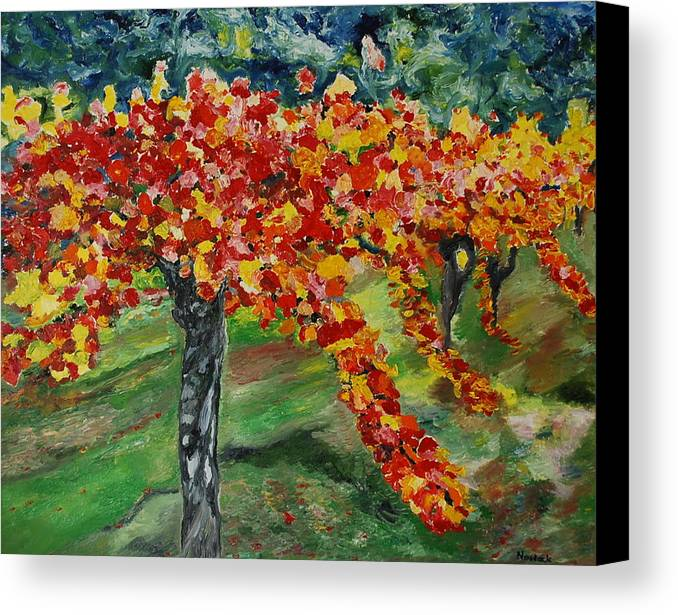 Vineyards Canvas Print featuring the painting Vineyards In Napa by Dorota Nowak