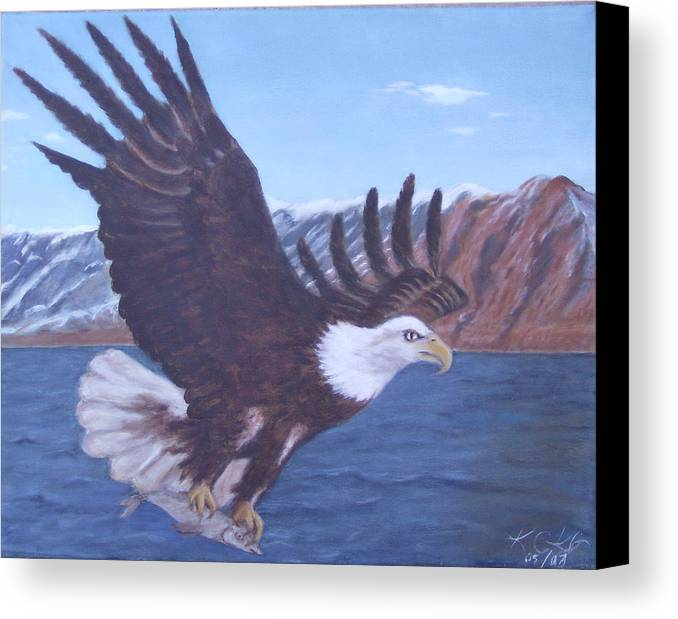 Eagle Canvas Print featuring the painting Walker Lake by KC Knight