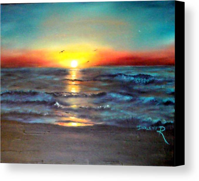 Sun Canvas Print featuring the painting Wedding Sunrise On Indian Harbour Beach Florida by Darlene Green