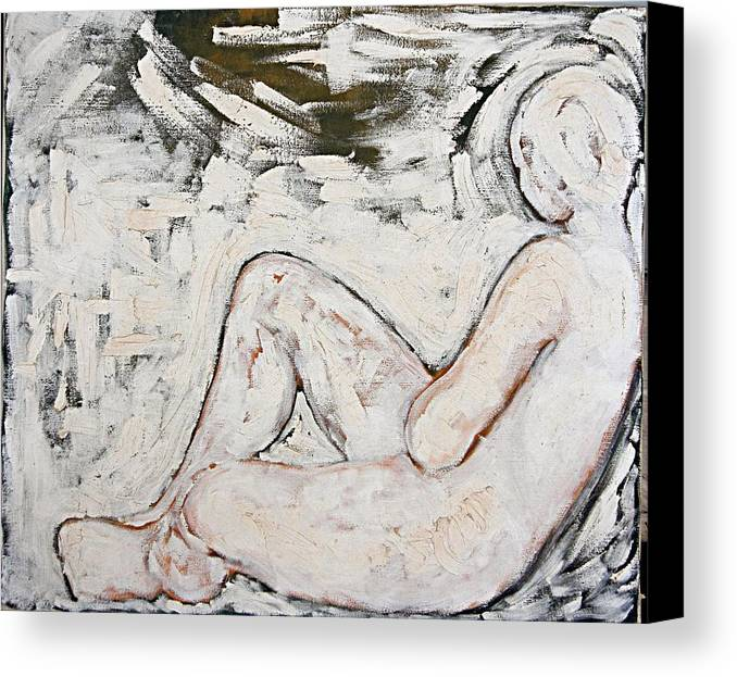 Nude Canvas Print featuring the painting White On White by Jeannette Ulrich