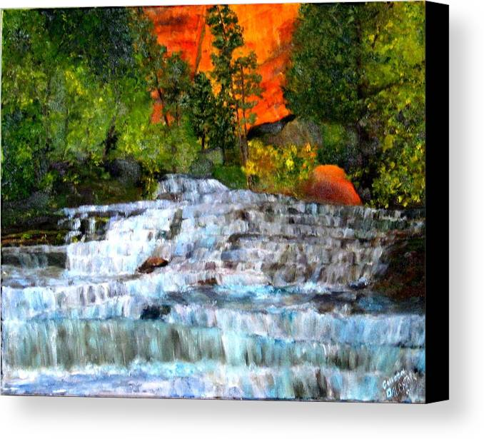 Waterfalls - Utah National Park - Landscape Canvas Print featuring the painting Zion National Park Utah by Colleen DalCanton
