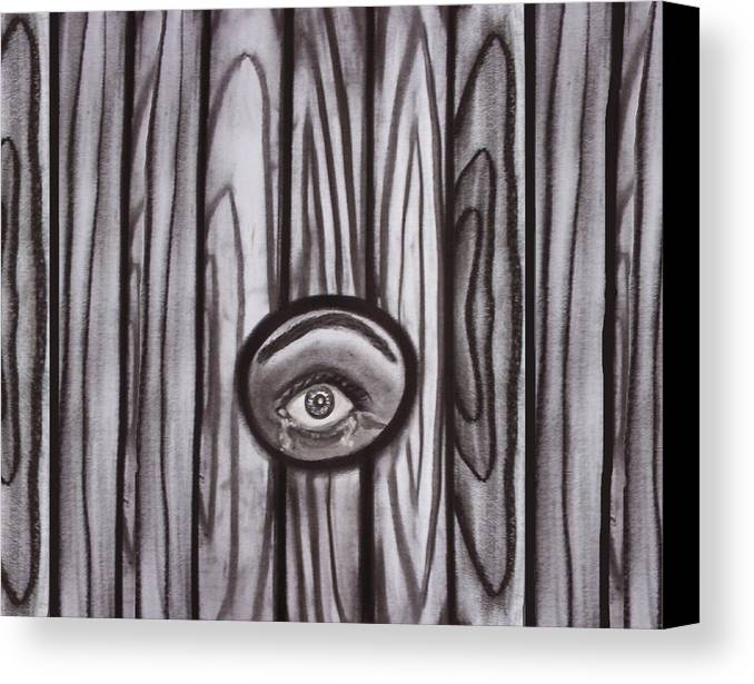 Eyes Canvas Print featuring the drawing Fear - Eye Through Fence by Joan Stratton
