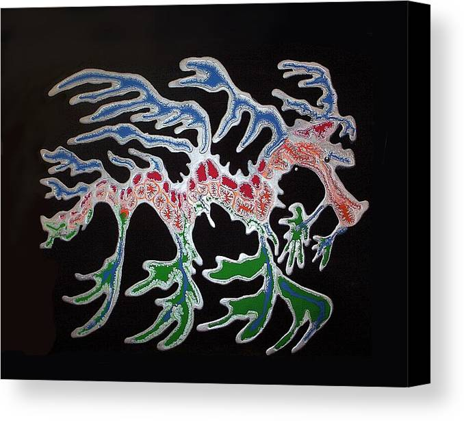 Sea Dragon Canvas Print featuring the painting Sea Dragon by Joan Stratton