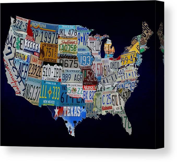 Continental Usa License Tag Map Canvas Print