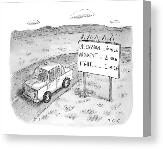 Argument Canvas Print featuring the drawing New Yorker August 1st, 2016 by Roz Chast