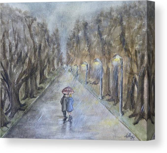 Park Canvas Print featuring the painting A Wet Evening Stroll by Kelly Mills