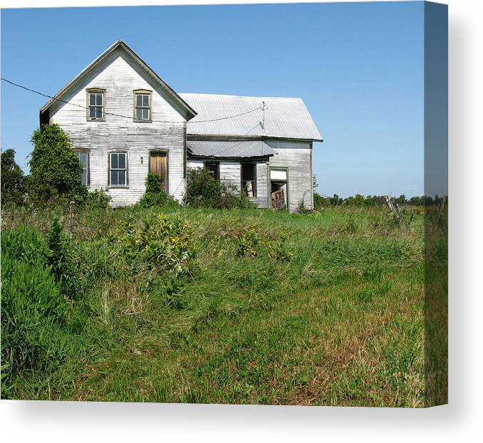 Abandoned Farmhouses Canvas Print featuring the photograph Be Careful At The Well. by Richard Stanford