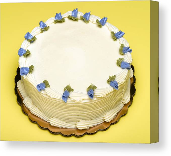 Part Of A Series Canvas Print Featuring The Photograph Blue Decorative Flowers On Birthday Cake By
