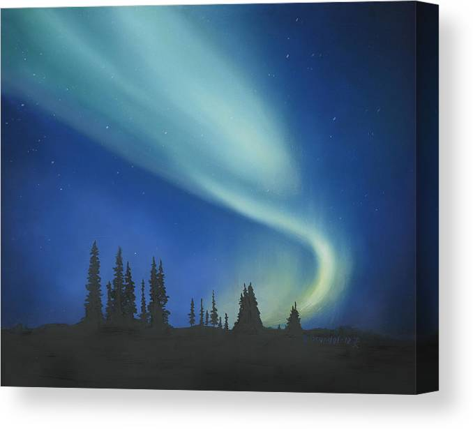 830e0478647 Blue Green Aurora Borealis Lights Trees Night Sky Northern Lights Light  Woods Evening Oil Painting Original. Wall View 001