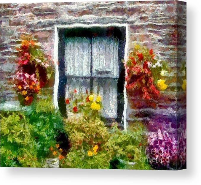 Window Canvas Print featuring the painting Brick And Blooms by RC DeWinter