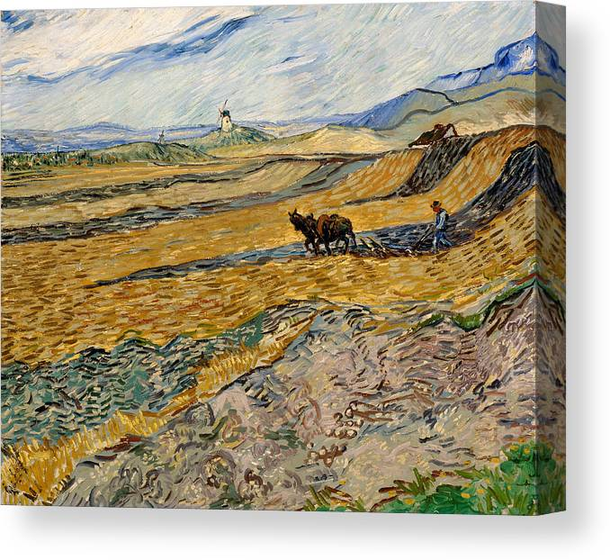 Painting Canvas Print featuring the painting Enclosed Field With Plowman by Mountain Dreams