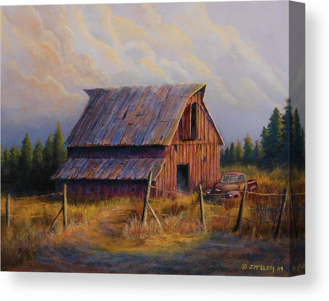 Barn Canvas Print featuring the painting Grandpas Truck by Jerry McElroy