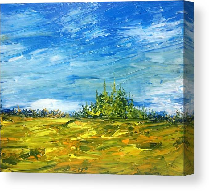 Landscape Abstract Canadian Impressionist Group Of Seven Canvas Print featuring the painting Island Of Pines - Interlake Field by Desmond Raymond