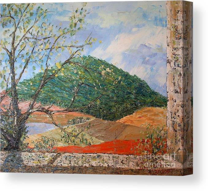 Green Hill Canvas Print featuring the painting Mole Hill Greets The Morning - Sold by Judith Espinoza