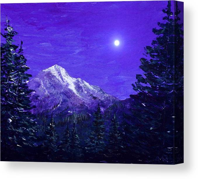 Moon Canvas Print featuring the painting Moon Mountain by Anastasiya Malakhova