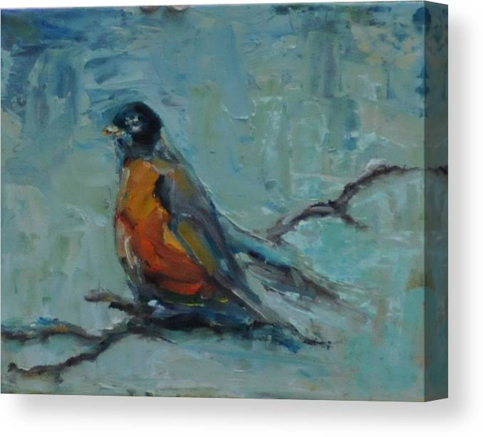Bird Canvas Print featuring the painting Oklahoma Robin by Susie Jernigan