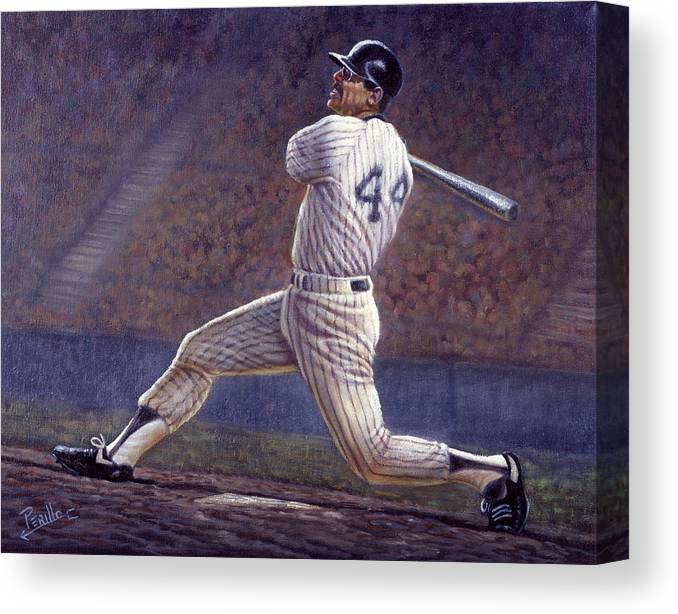 Gregory Perillo Canvas Print featuring the painting Reggie Jackson by Gregory Perillo