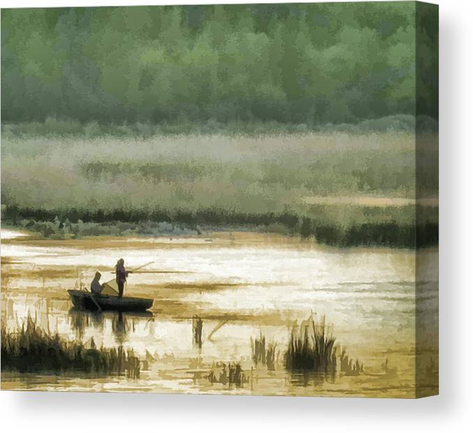 Fishing Canvas Print featuring the photograph Sunset Fishing On The Volga by Glen Glancy