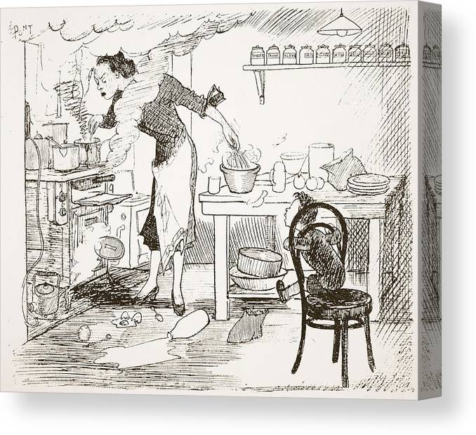 Cartoon Canvas Print featuring the drawing The Please, Mother, Will You Tell by Pont