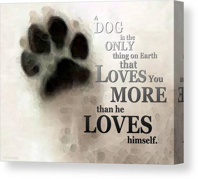 Dog Canvas Print featuring the painting True Love - By Sharon Cummings Words By Billings by Sharon Cummings