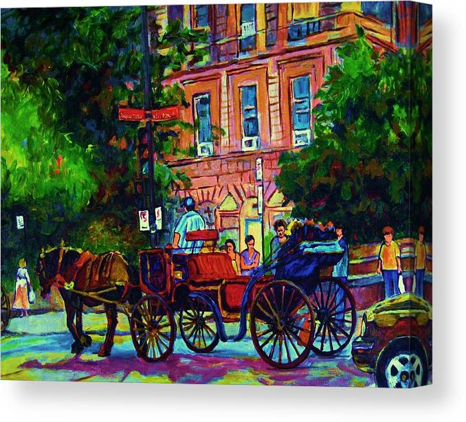Rue Notre Dame Canvas Print featuring the painting Horsedrawn Carriage by Carole Spandau