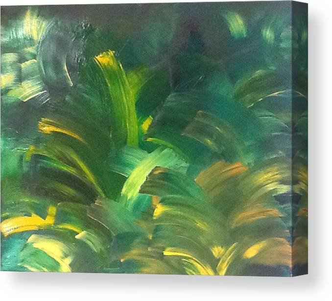 Green Canvas Print featuring the painting In The Forest by Lindsay Rae