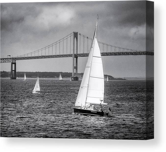 Sailboats Canvas Print featuring the photograph Sailboats Near Bridge by Ercole Gaudioso