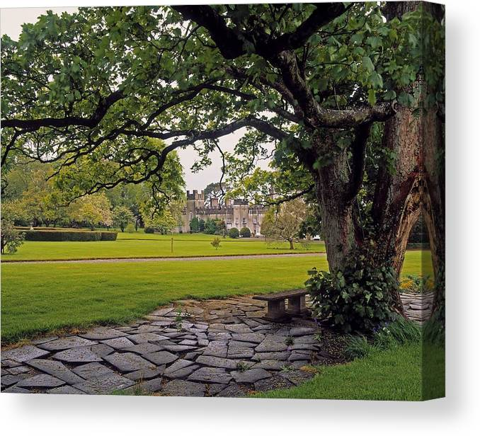 Archaeology Canvas Print featuring the photograph The Sundial Terrace, Glin Castle, Co by The Irish Image Collection