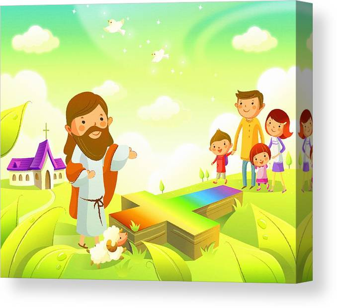 Jesus; Cartoon; Print; Decoration; Abstract; Design; Illustration; Art; Decor; Watercolor; Painting; Digital Art; Oil On Canvas; Vector ; Noah; Canvas Print featuring the digital art Good Works Do Not Make A Good Man by Don Kuing