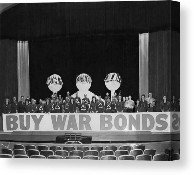 War Canvas Print featuring the photograph War Bond Rally Buy Bonds February 1944 Black by Mark Goebel