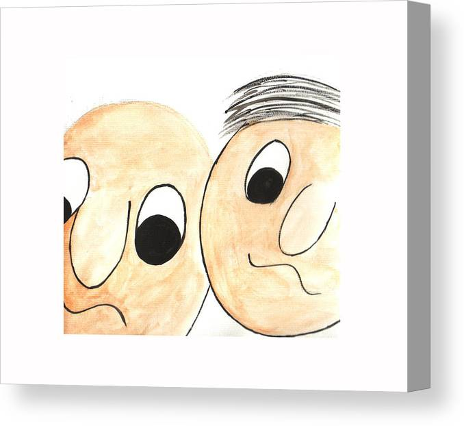 Abstract Canvas Print featuring the painting Cartoon Faces by Hema Rana