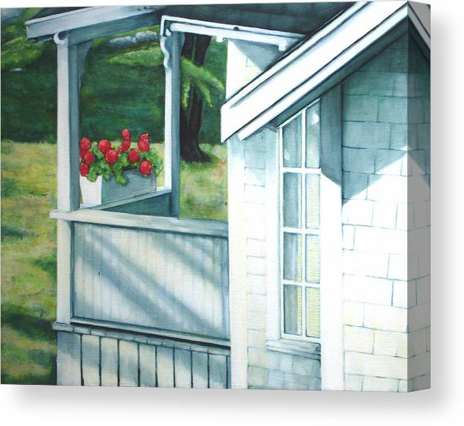 White Porch In Maine With Red Geraniums. Canvas Print featuring the painting Maine Porches Number One by Leo Malboeuf