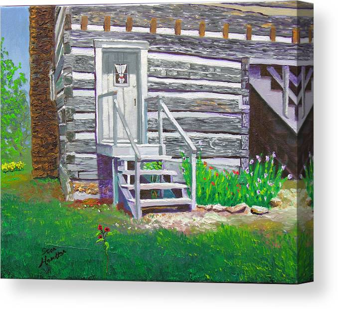 Log Cabin Canvas Print featuring the painting Pioneer Village II by Stan Hamilton