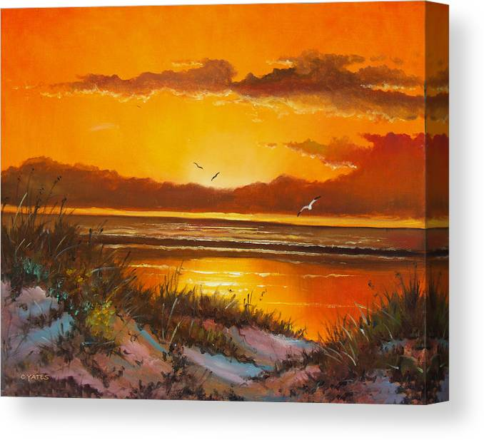 Florida Canvas Print featuring the painting Siesta Sunset by Charles Yates