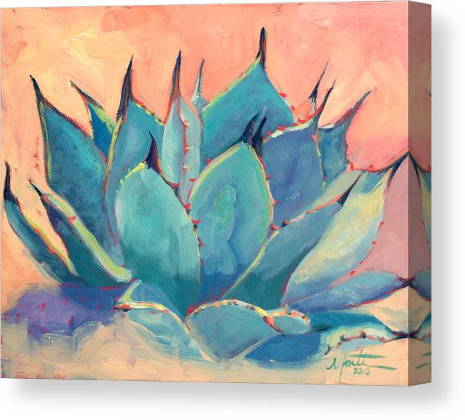 Plant Canvas Print featuring the painting Agave 2 by Athena Mantle