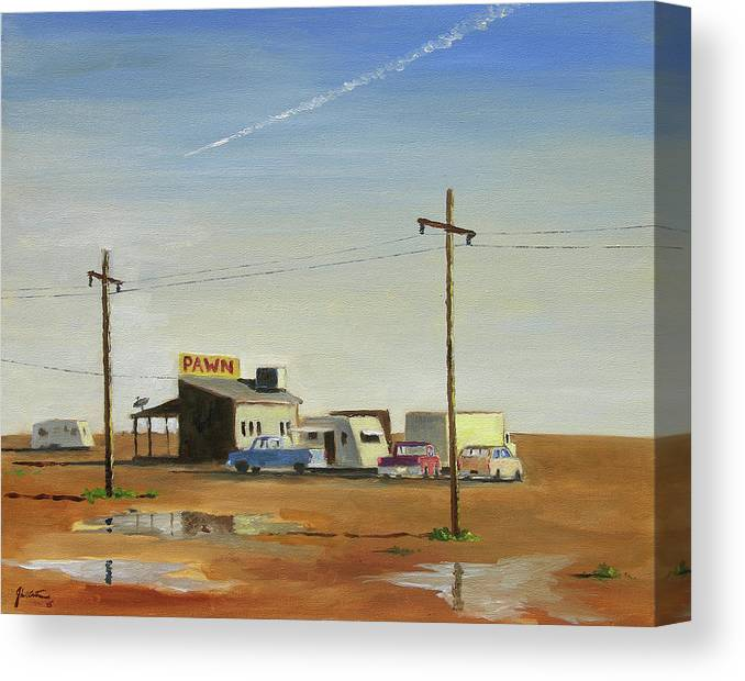Desert Canvas Print featuring the painting Arizona Last Chance by John Crowther