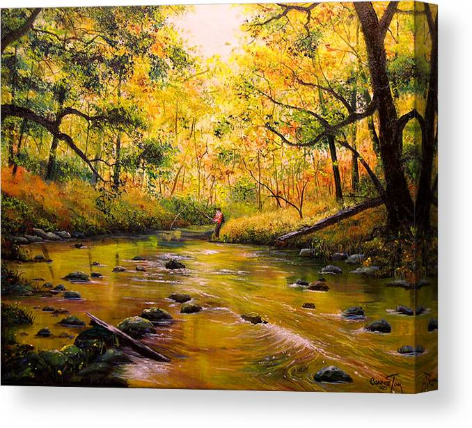 Connie Tom Canvas Print featuring the painting Autumn Fishing by Connie Tom