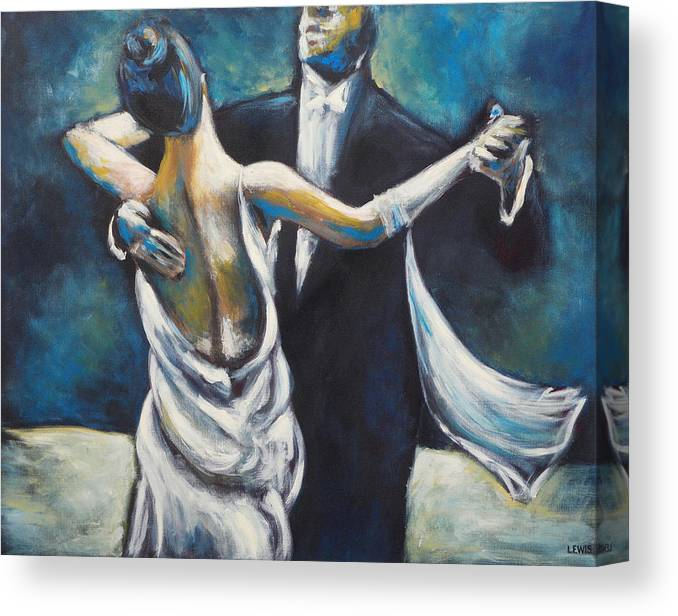 Dance Canvas Print featuring the painting Ballroom Dancers by Ellen Lewis